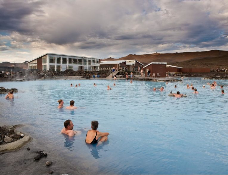 Outdoor bath and hot springs in Myvatni