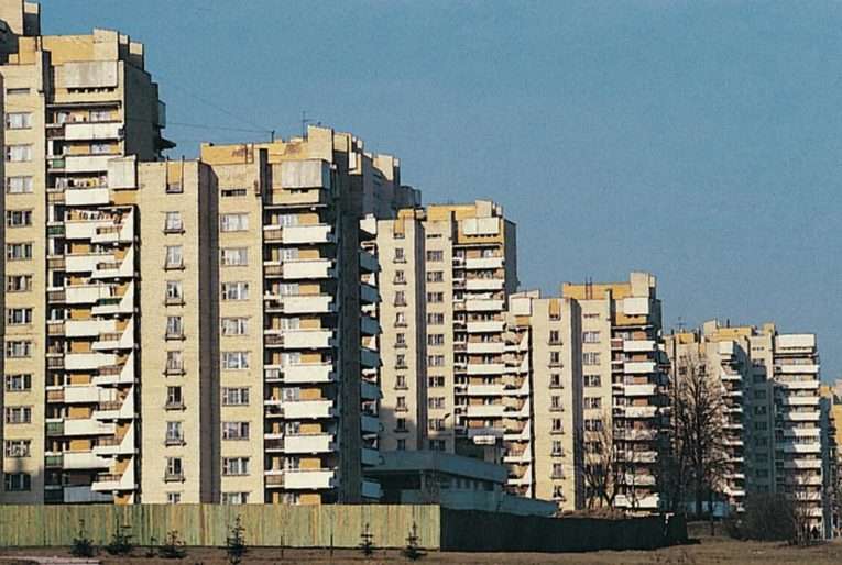Residential area of Minsk. Large apartment blocks from the Soviet era.