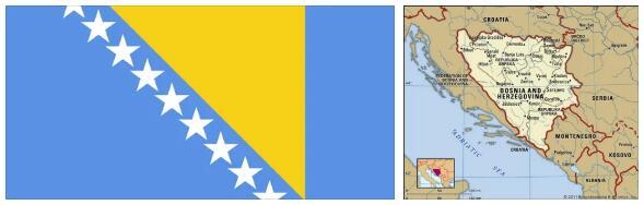 Bosnia and Herzegovina Flag and Map 2