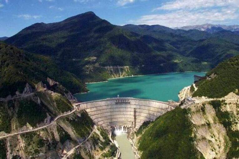 Inguri Dam hydropower plant in Svaneti Georgia